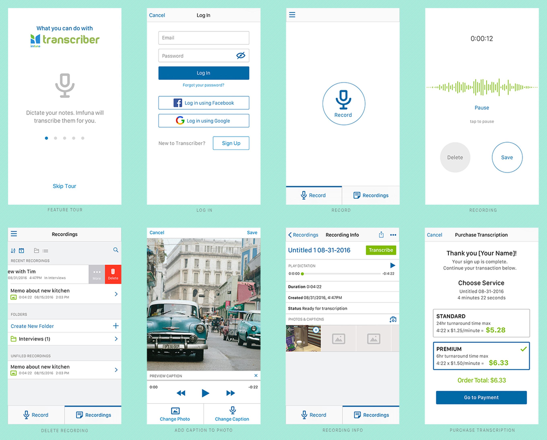 Transcriber iOS App Final Designs